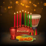 Kwanzaa Kinara Background Colorful Composition Poster. African american kwanzaa holiday celebration colorful festive background poster with kinara candles light Royalty Free Stock Images