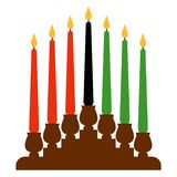 Kwanzaa Kinara. Candleholder called kinara and seven candles called mishumaa saba for Kwanzaa