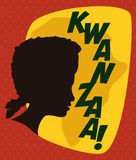 Kwanzaa Poster with Woman Silhouette, Vector Illustration Stock Image