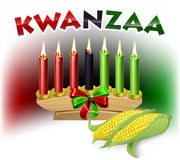 Kwanzaa Sign. A Kwanzaa candles and corn decoration holiday background illustration Royalty Free Stock Photography