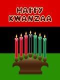Kwanzaa theme. Kwanzaa kinara with The Black Liberation Flag as backdrop Royalty Free Stock Images