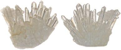 Kwarcowi kryształy Odizolowywający na bielu zdjęcie stock