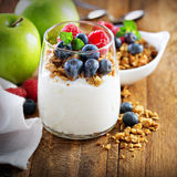 Kwark en yoghurtparfait met granola stock afbeelding