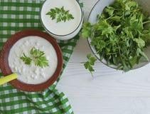 Kwark, van de de lunch zure organische eigengemaakte peterselie van het yoghurt verse melkachtige landbouwbedrijf rustieke greens stock fotografie