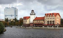Kwart gebouwen in Duitse stijl op de rivierbank Royalty-vrije Stock Foto's