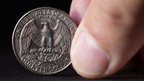 Kwartalna USD moneta wyrównuje pokazywać up orzeł stronę zbiory