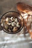 Kwartelseieren op een plaat en een brood Royalty-vrije Stock Afbeeldingen