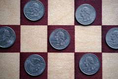 Kwarten op het schaakbord royalty-vrije stock foto's