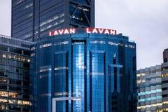 Kwatery główne Lavan prawa firma w Perth, zachodnia australia w zmierzchu obraz royalty free