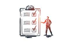 Kwestionariusz, forma, test, lista kontrolna, ankiety pojęcie Ręka rysujący odosobniony wektor ilustracja wektor