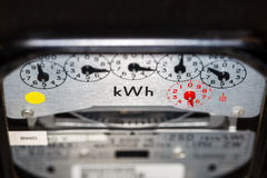 KWh electric meter and dials. Electric meter showing kWh symbol and dials Royalty Free Stock Photos