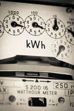KWh Electric meter and dials Royalty Free Stock Photography