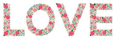 Kwiaciasty słowo róże - miłość - obraz stock