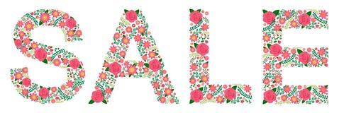 Kwiaciasty słowo róże - sprzedaż - Zdjęcia Stock