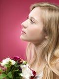 kwiatów dziewczyny menchie Zdjęcia Royalty Free