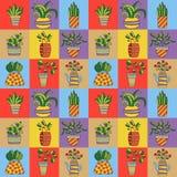 Kwiatów garnków dom zasadza doodles wektoru bezszwowego wzór Zdjęcie Royalty Free