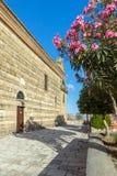Kwiatów i Agios Nikolaos kościół w Zakynthos mieście Obraz Royalty Free