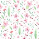 Kwiatów i liści wzór Zdjęcie Stock