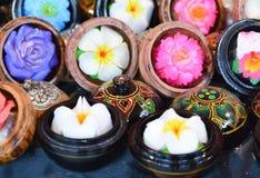 Kwiatów mydlani cyzelowania na rynku Fotografia Royalty Free