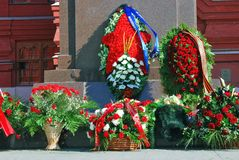 Kwiatów pączki Zwycięstwo dnia dekoracja Dziejowym muzeum w Moskwa Fotografia Stock