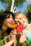 kwiatów parka odpoczynku kobiety Zdjęcia Stock