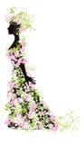 kwiatów sylwetki kobieta Obrazy Stock