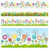 kwiatów trawy set bezszwowi kwieciści wzory royalty ilustracja