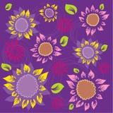 kwiatów ulistnienia wzoru słoneczniki Zdjęcie Stock