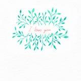 Kwiat akwarela Karta z wodnego koloru liśćmi Obraz Royalty Free