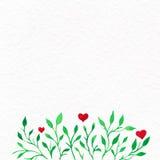 Kwiat akwarela Karta z wodnego koloru liśćmi St walentynką Obraz Royalty Free