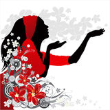 kwiat dziewczyną tło Zdjęcie Royalty Free