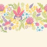 Kwiat dziewczyn horyzontalny bezszwowy wzór ilustracja wektor