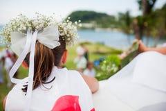 Kwiat dziewczyna przy ślubem Zdjęcie Royalty Free