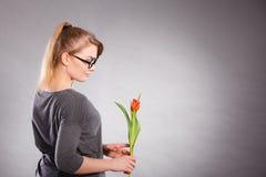 kwiat elegancka kobieta Fotografia Stock