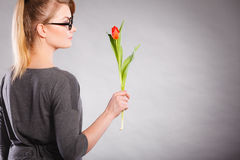 kwiat elegancka kobieta Zdjęcie Royalty Free