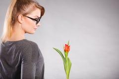 kwiat elegancka kobieta Zdjęcia Stock