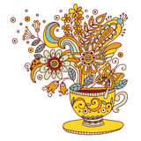 Kwiat filiżanki ilustracja ilustracja wektor