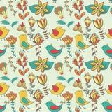 Kwiat i ptak bezszwowa konsystencja Obrazy Stock