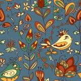 Kwiat i ptak bezszwowa konsystencja Zdjęcia Royalty Free