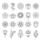 Kwiat ikony set Obrazy Stock