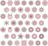 Kwiat ikony set Zdjęcia Stock