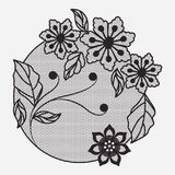 Kwiat koronki ornamentu kurenda w monochromatycznej sylwetce ilustracja wektor