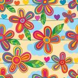 Kwiat kreskowej horyzontalnej stylowej miłości bezszwowy wzór ilustracji