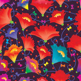 Kwiat miłości motyli kolorowy bezszwowy wzór Obrazy Stock