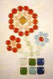 kwiat na płytki kolaż Obraz Stock