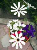 Kwiat od plastikowej butelki Dekoracja dla ogródu robi mu Reuse klingeryt Wystrój odpady kwitnie waz? zdjęcie stock
