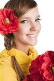 kwiat piękna dziewczyna Fotografia Stock