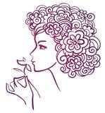 kwiat piękna kobieta ilustracji