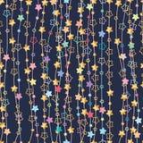 Kwiat pionowo linii gwiazdowy bezszwowy wzór ilustracja wektor