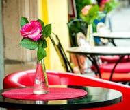 Kwiat przy restauracja stołem Obrazy Stock
